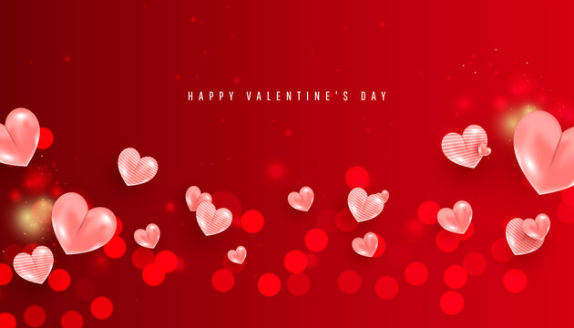 Blurred valentine day background with air heart balloons on red background. Horizontal poster, flyer, greeting card, header for website