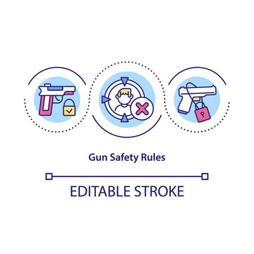 Gun safety rules concept icon. Proper storage of firearms idea thin line illustration. Eliminate the risks of accidental death. Vector isolated outline RGB color drawing. Editable stroke