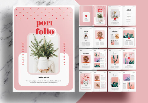 Portfolio Layout with Pink and Red Accents