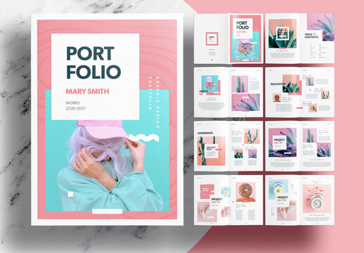 Portfolio Layout with Pink Accents