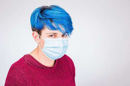 Coronavirus Woman wearing protective mask. How to put a face mask step by Step to protect for spreading of disease virus, illustrative to learn to put an anti virus protection breath mask