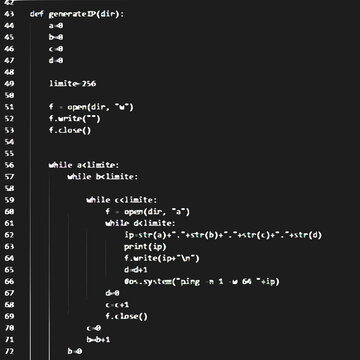 Python source code function in black background