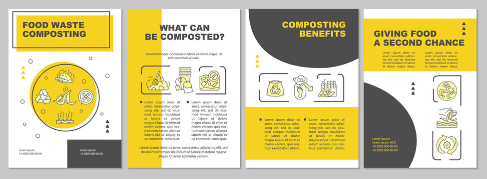 Food waste composting brochure template. Composting benefits. Flyer, booklet, leaflet print, cover design with linear icons. Vector layouts for magazines, annual reports, advertising posters