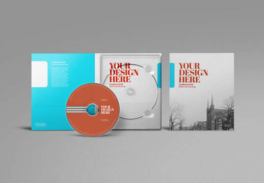 DVD Cardboard Mockup with Jewel Case Front View
