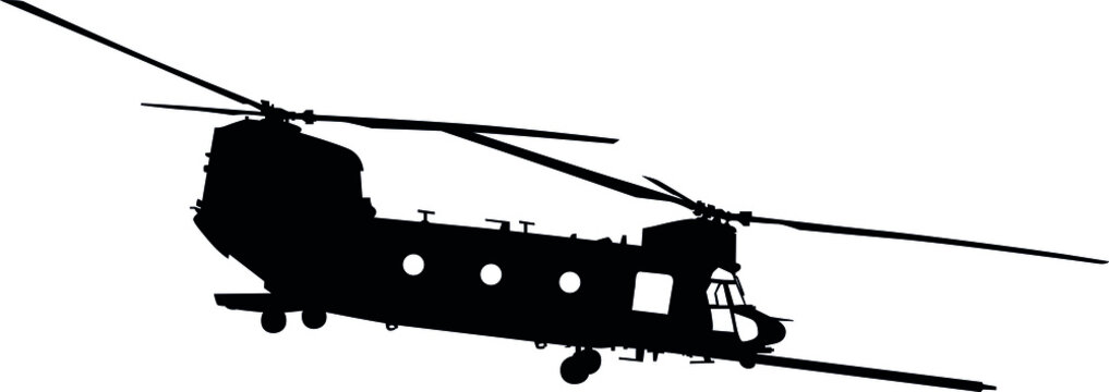 CH-47 Chinook twin-engine transport helicopter with tandem rotor arrangement. Ch 47 Chinook heavy lift helicopter Isolated realistic silhouette with windows