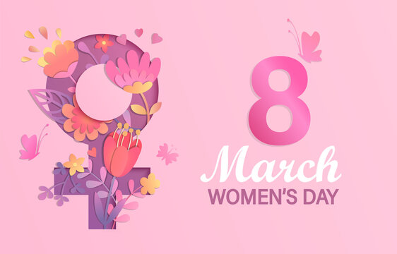 International Women's Day banner, flyer.Card for March 8 decorating by paper flowers in papercut female symbol. Congratulating card for newsletter, brochures,postcards.Vector illustration.