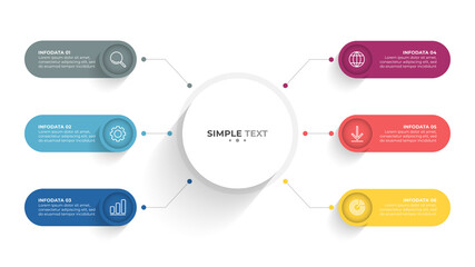 Obraz Presentation infographic template design with icons and circles. Business concept with 6 options, steps. - fototapety do salonu