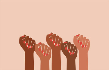 black fist people, brown power, black history month, female pride, black lives matter, feminist empowerment, hands raised, retro graphic design, red nail polish, strong women, girl power, poster card - fototapety na wymiar