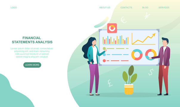 Male and female characters are analysing financial statements. Man and woman examine board with financial infographics. Website, web page, landing page template. Flat cartoon vector illustration