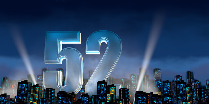 Number 52 in thick blue font lit from below with floodlights floating in the middle of a city center with tall buildings with lights on at night with cloudy sky. 3D Illustration