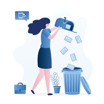Female clerk throws letters into trash can. Funny businesswoman deletes spam or read mail from mailbox. File manager, deleting unnecessary files.