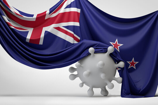 New Zealand flag draped over a Covid virus disease molecule. 3D Rendering