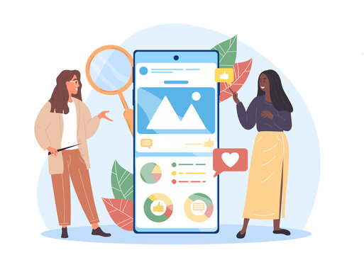 Two female characters are analysing social media. Social media marketer analyzes her clients advertising company. Tracking new data. Flat cartoon vector illustration