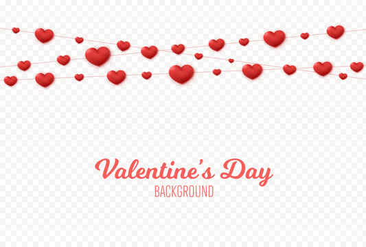Hearts garland decoration. Valentines Day background. Vector string with hearts