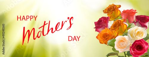 Happy mother's day greeting card. Congratulatory flowers.