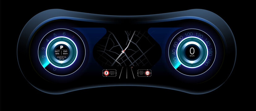 Display Design. Control panel design Automatic braking system avoid car crash from car accident. Concept for driver assistance systems. Autonomous car. Driverless car. Self driving vehicle.