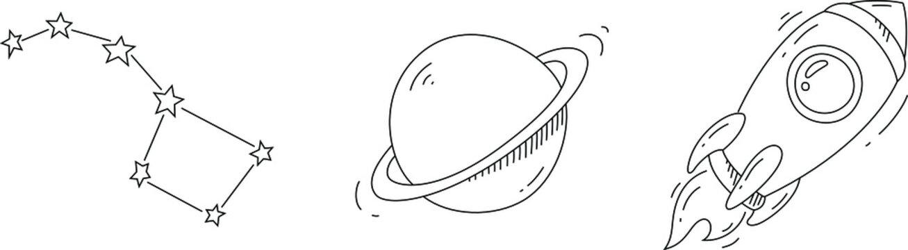 Spaceship, constellation and Saturn sketch