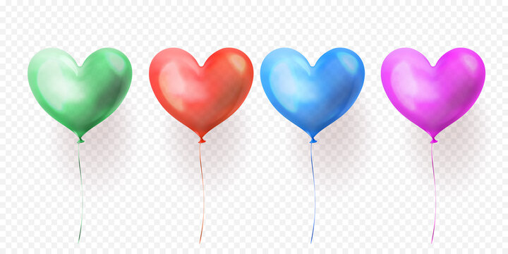 Heart balloons transparent set for Valentines Day, wedding or birthday greeting card design. Vector heart helium isolated glossy ballons green, blue, red and purple party decorations