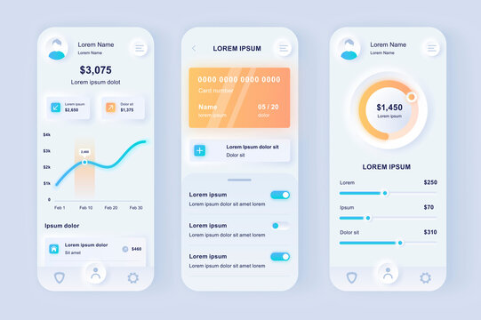 Online banking unique neomorphic design kit. Smart finance application with manage transactions and view account activities. UI UX templates set. Vector illustration of GUI for responsive mobile app.