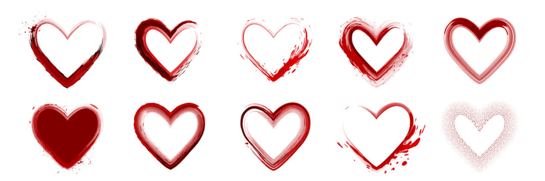 Set of watercolor red heart shape isolated on white background