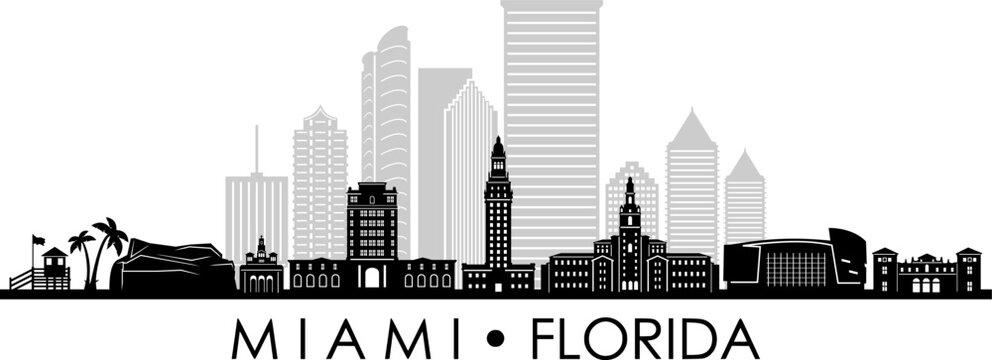 MIAMI Florida SKYLINE City Silhouette