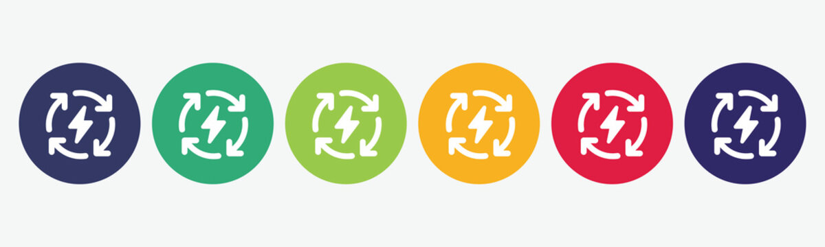 6 button circles set with renewable icon in various colors. Vector illustration.