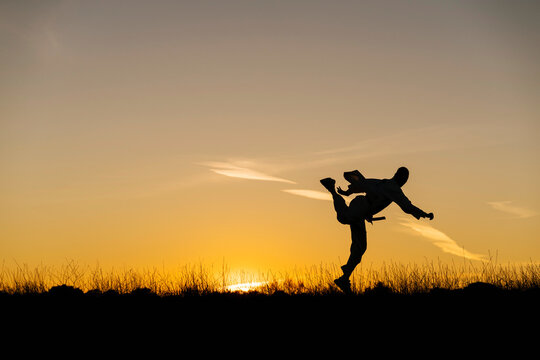 Silhouette of man practicing martial arts against setting sun