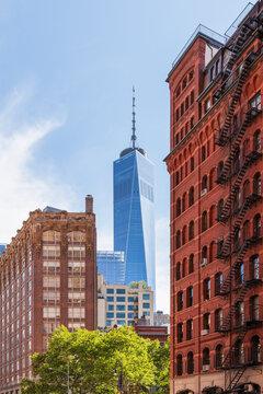 USA, New York, New York City, Lower Manhattan buildings with One World Trade Center