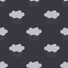 Raining clouds Seamless Pattern Background. Vector design for paper, cover, wallpaper, fabric, textile, interior decor and other project.
