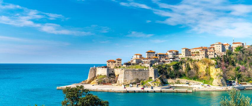 Ulcinj montenegro old town skyline view sea sommer.