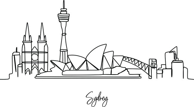 City skyline Continuous one line drawing - vector illustration