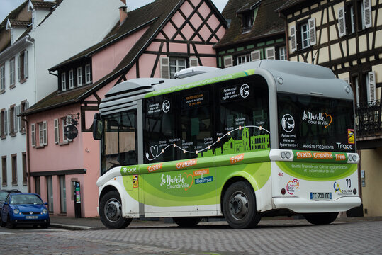 Colmar - France - 2 February 2021 - view of free bus in the street