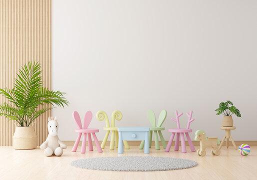 White child living room interior for mockup, 3D rendering