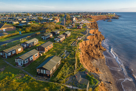 Aerial view of a small group of houses in Withernsea county coastline. United Kingdom.