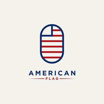 abstract minimalist american flag line art logo icon template vector design illustration