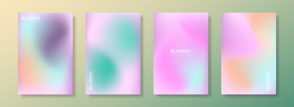 Set of soft cloud background in pastel colorful gradation. Abstract blurred gradient pastel color palette. Texture decorative elements with gradient and freedom style.