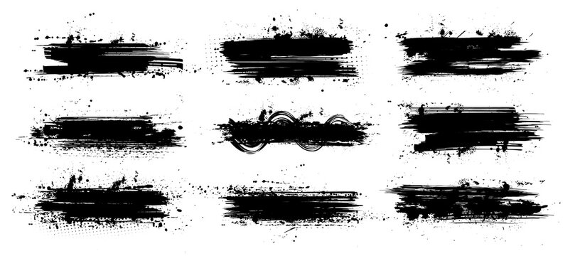Ink paintbrush template with splashes. Vector collection black grunge paintbrush, ink brush stroke. Dirty artistic design elements. Inked splatter, dirt stain, splatter, brush with drops blots. Vector