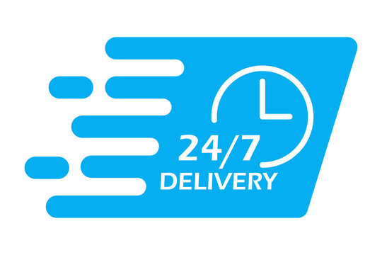 Linear 24 7 delivery for concept design. Clock icon vector. Online concept. Stock image. EPS 10.