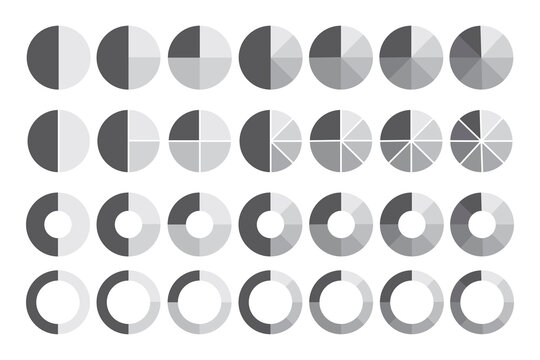 Icon with pie sector circles. Black line icon. Round shape. Vector design. Stock image. EPS 10.