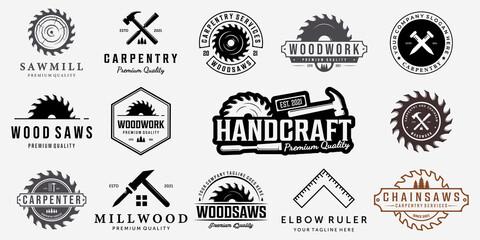 Obraz Set Bundle Carpentry Vector Logo, Design Illustration Carpenter Vintage Line Art, Hammer Steel Saws Concept - fototapety do salonu