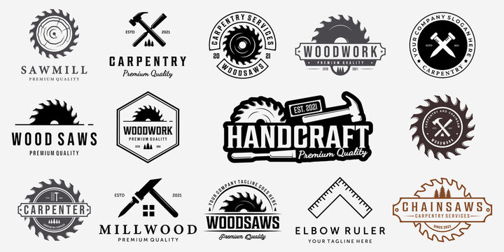 Set Bundle Carpentry Vector Logo, Design Illustration Carpenter Vintage Line Art, Hammer Steel Saws Concept