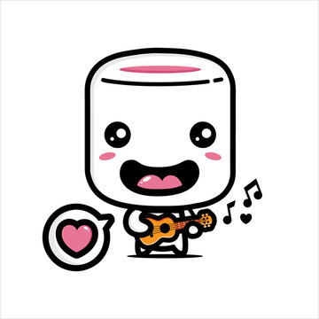cute marshmello is playing guitar