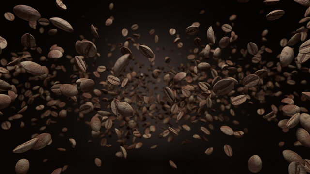 Falling coffee beans on a black background 3D Illustration