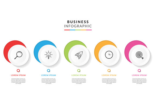 Colorful business infographic with 5 steps or options