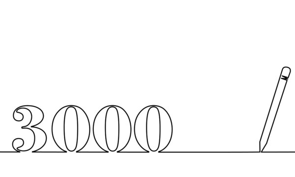 One line drawing style with a pen on the right and 3000 on the left, the year of the lord. Concept about writing, simply, yearly, celebrating, anniversary and etc.