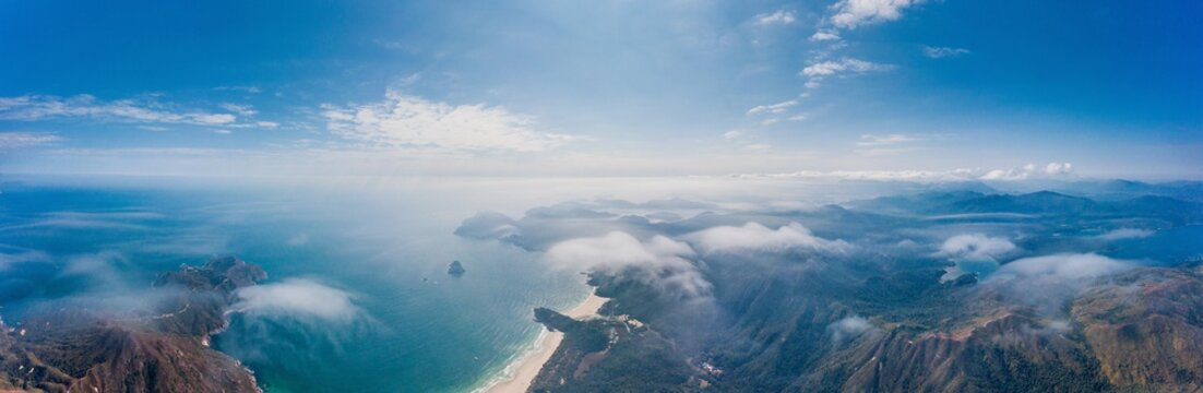 Aerial view of the Big Wave Bay, the famous hiking trail in Sai Kung, Hong Kong, outdoor, daytime