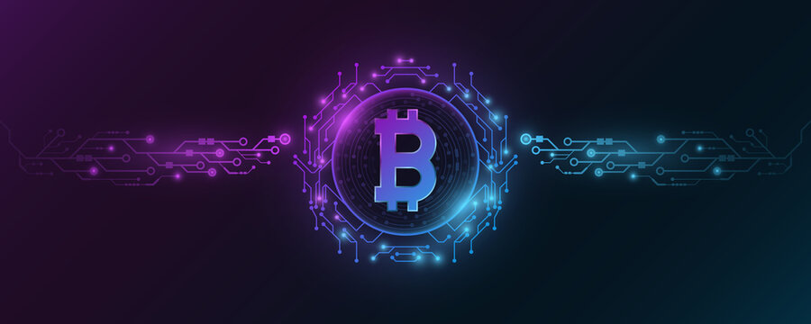 Futuristic Bitcoin cryptocurrency. Concept of digital currency mining. Sci-fi design blockchain for graphic design. Computer circuit board. CPU. Vector illustration.