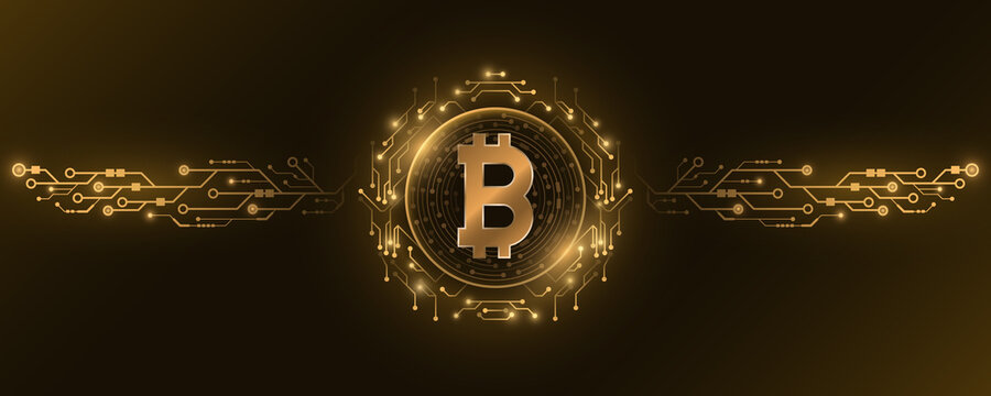 Futuristic golden Bitcoin digital currency. Big CPU data. Concept of cryptocurrency mining. Sci-fi design blockchain for graphic design. Computer circuit board. Vector illustration.