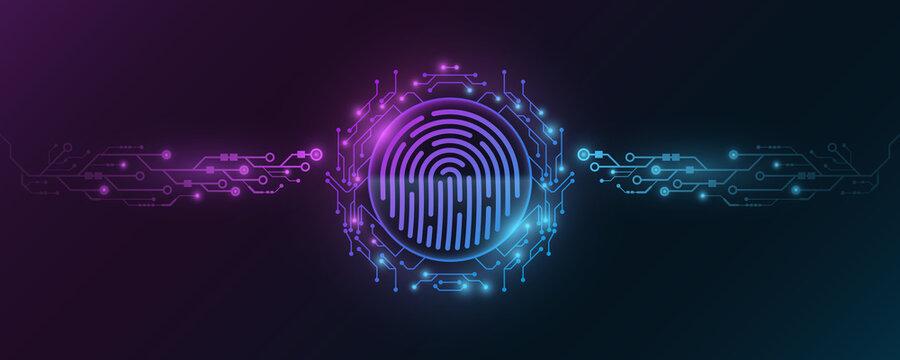 Futuristic fingerprint. Biometric data security. Dashboard display. Big data CPU. Scan user. Touch screen panel. Computer circuit board frame. Vector illustration.