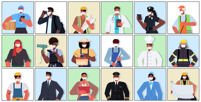 set mix race people of different occupations wearing masks to prevent coronavirus pandemic labor day celebration concept portraits collection horizontal vector illustration